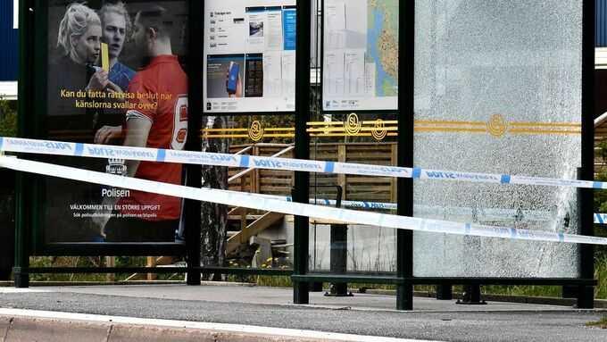 Polisavspärrningar efter skottlossningen i Järfälla den 19 maj 2020.