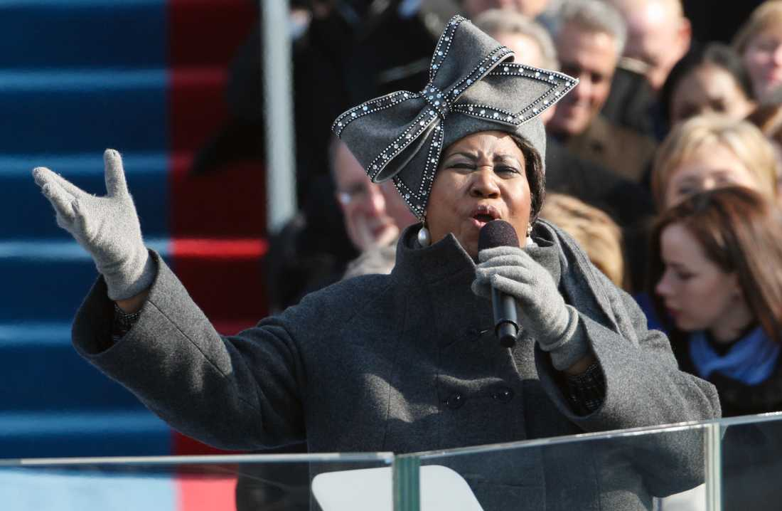 Franklin sjunger vid Barack Obamas installation i januari 2009.