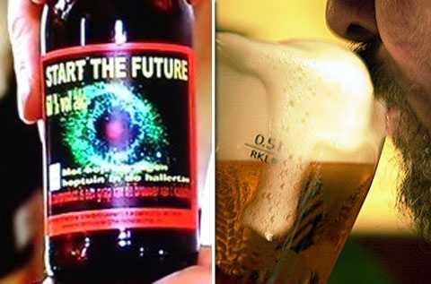 """Start the future"" – öl med 60 procent alkohol."