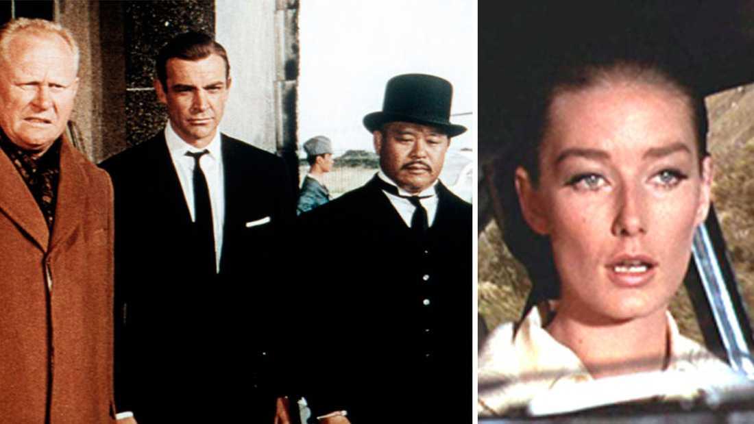 """Gert Fröbe (Auric Goldfinger)"""", Sean Connery (James Bond), Harold Sakata (""""Odd Job"""") och Tania Mallet (Tilly Masterson) i """"Goldfinger""""."""