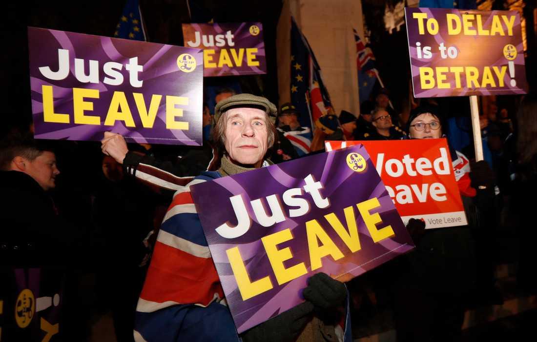 Demonstrationer för och emot brexit har pågått i London nästan oavbrutet under de senaste månaderna. Arkivfoto.