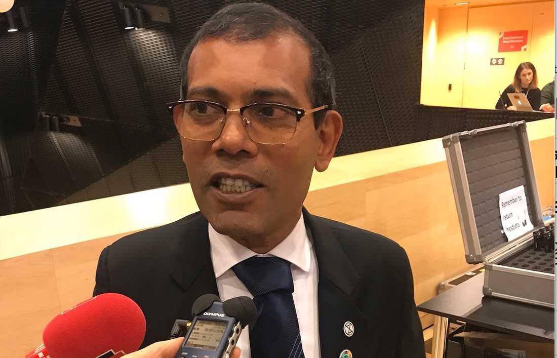Mohamed Nasheed, tidigare president i Maldiverna, leder landets delegation på klimatmötet.