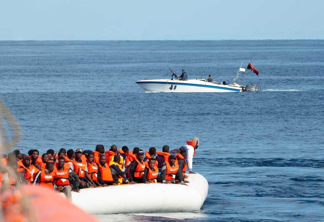 Fartyget Alan Kurdi syns här under en tidigare räddningsaktion utanför den libyska kusten. Arkivbild.