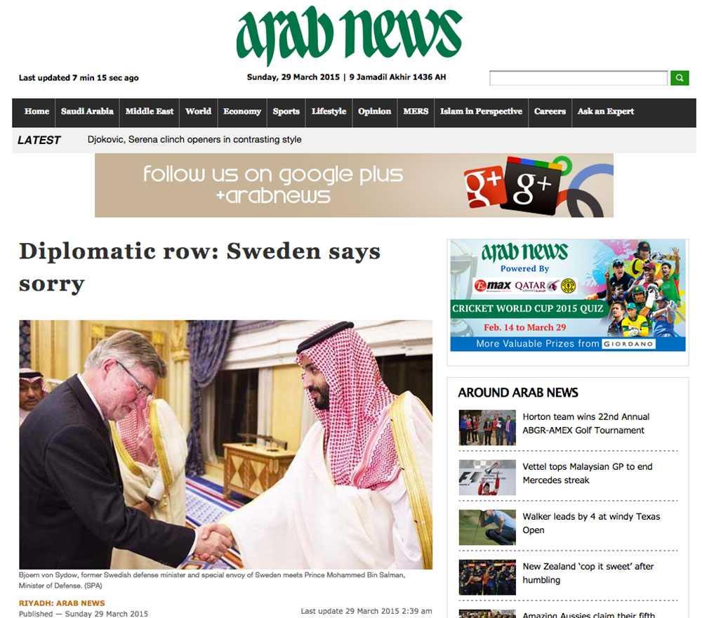 Faksimil från Arab News.