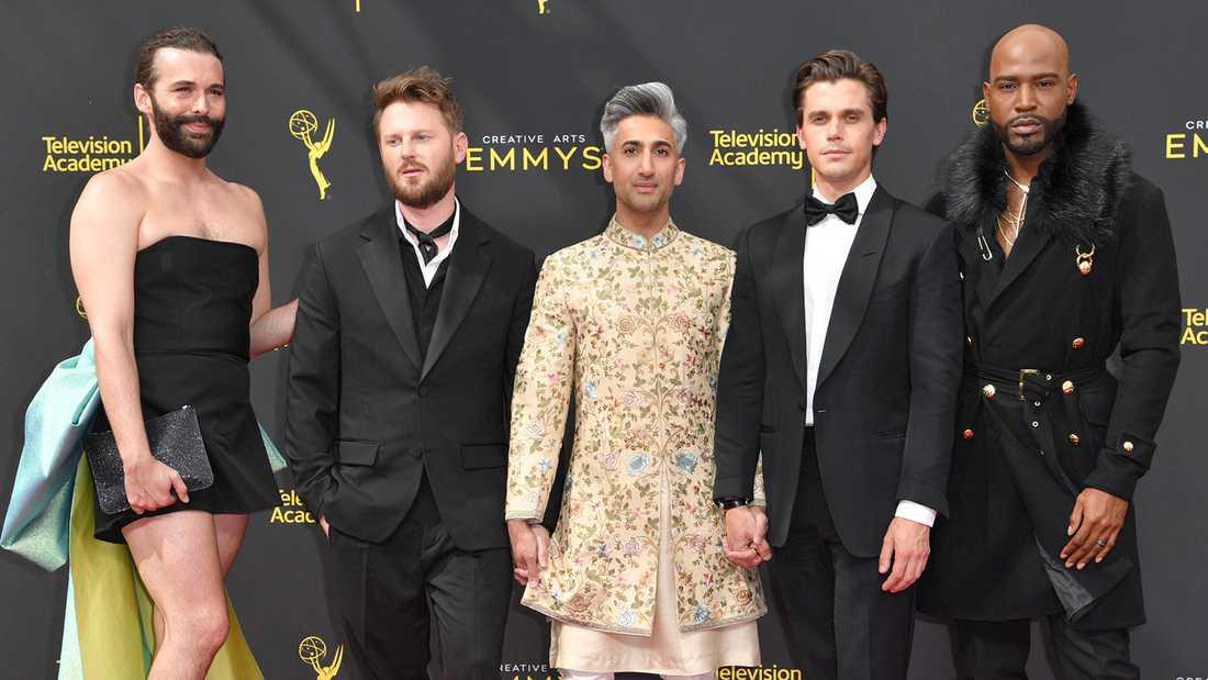 """Huvudrollsinnehavarna i Netflix-serien """"Queer eye"""", från vänster Jonathan Van Ness, Bobby Berk, Tan France, Antoni Porowski och Karamo Brown."""