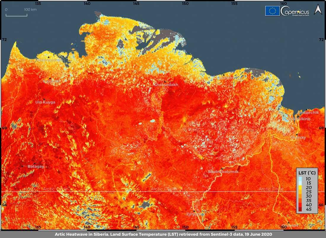 Marktemperaturen i Sibirien uppmätt den 19 juni. En ny rekordtemperatur på 38 grader rapporterades dagen efter.