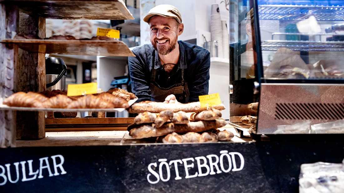 Sébastien Boudet i sin brödbutik på Södermalm i Stockholm.