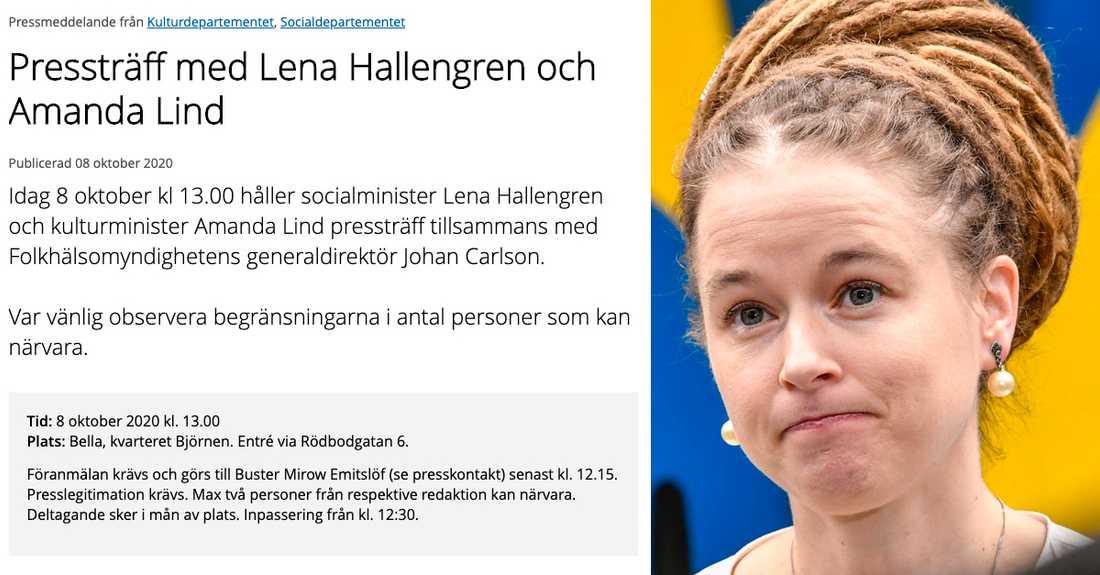 Pressmeddelandet från regeringen och kulturminister Amanda Lind.