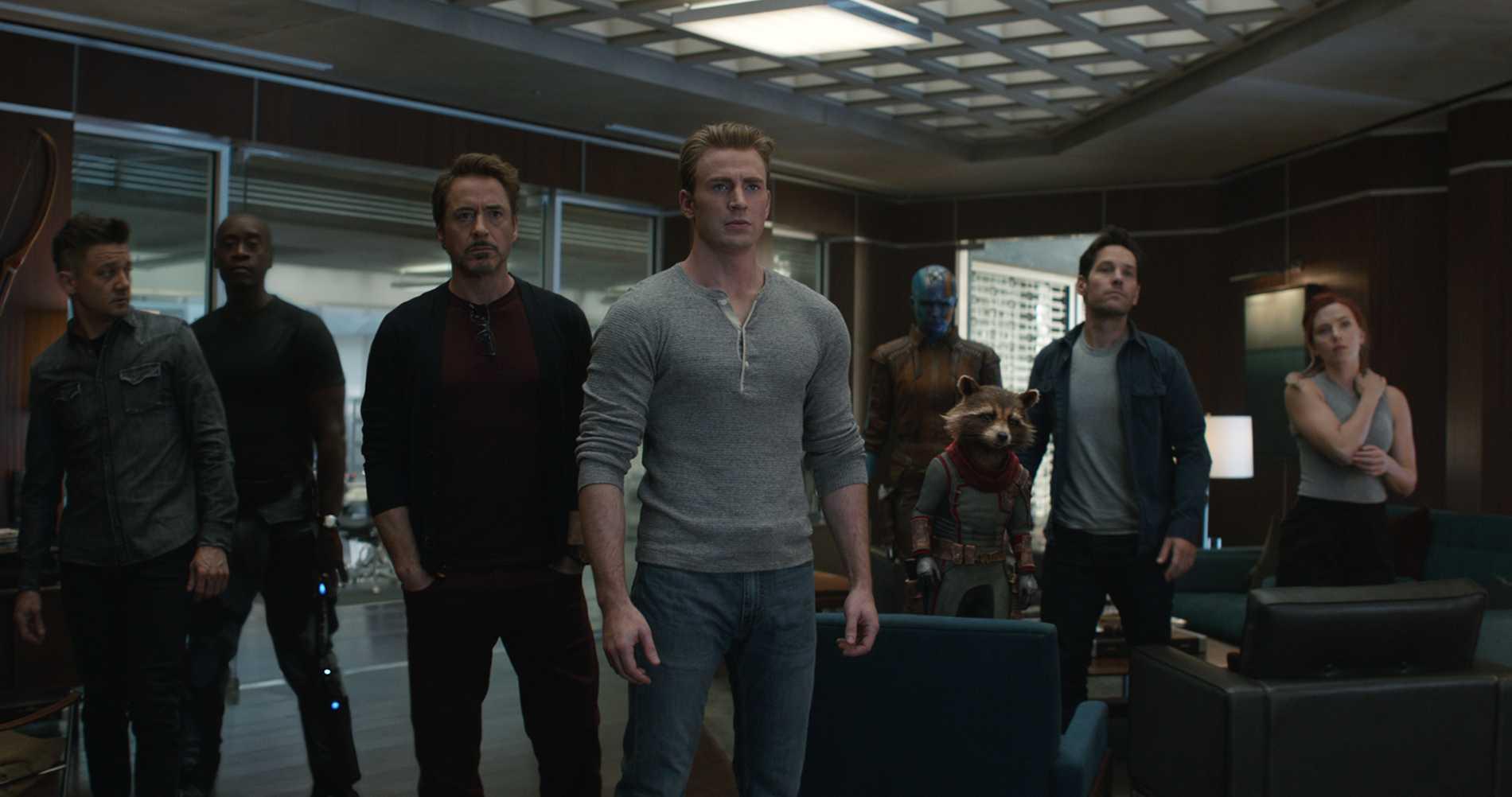 Jeremy Renner, Don Cheadle, Robert Downey jr, Chris Evans, Karen Gillan, Rocket, Paul Rudd och Scarlett Johansson.