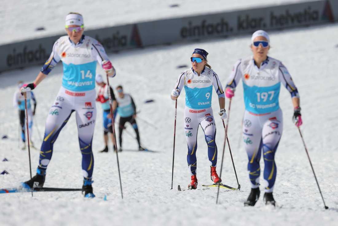 Tre medaljkandidater: Maja Dahlqvist, Linn Svahn och Johanna Hagström utgör tillsammans med Jonna Sundling (inte på bild) VM:s starkaste sprintlandslag.