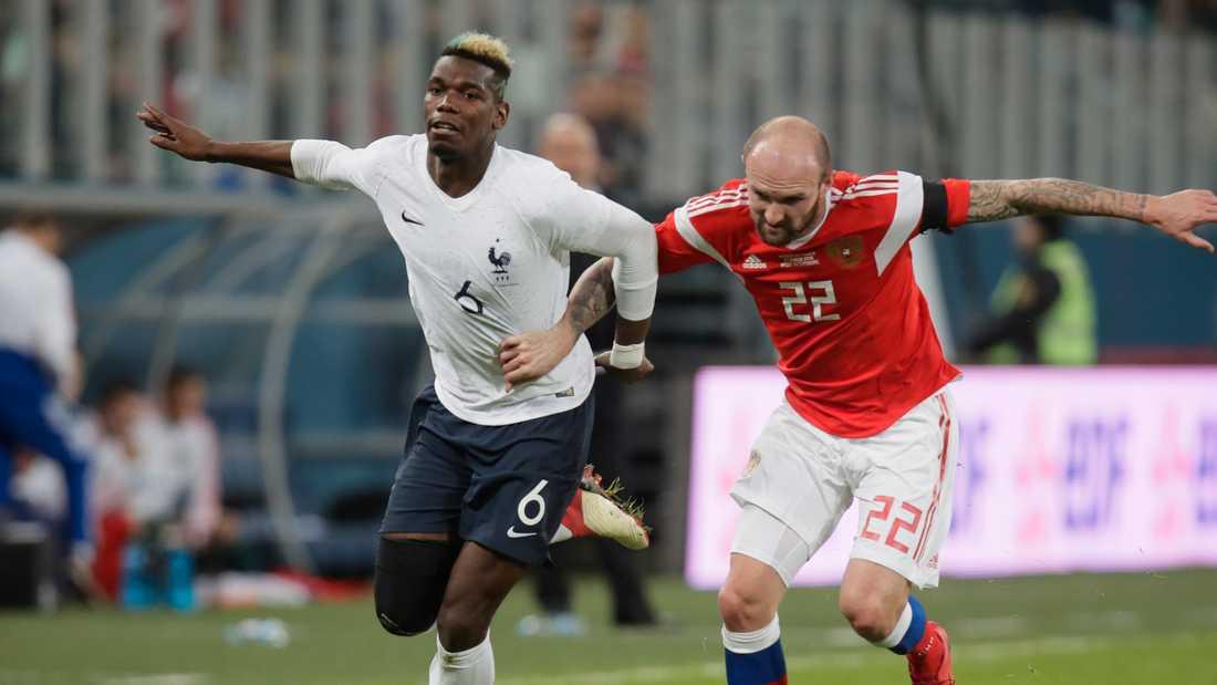 Paul Pogba under vänskapsmatchen mot Ryssland. Arkivbild