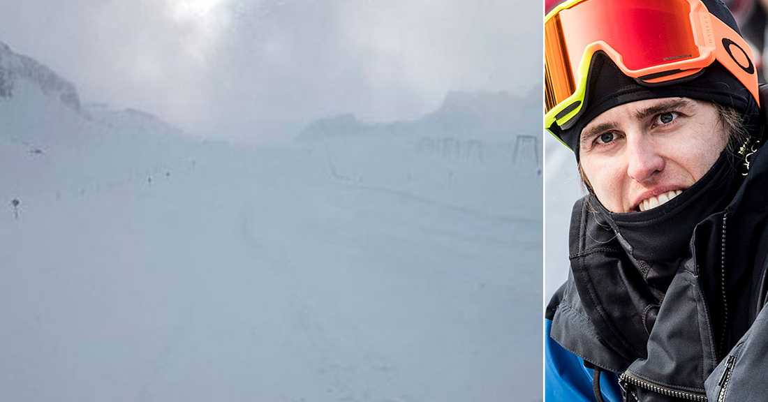 Bild från Stubais glaciär i söndags. Henrik Harlaut tilil höger.