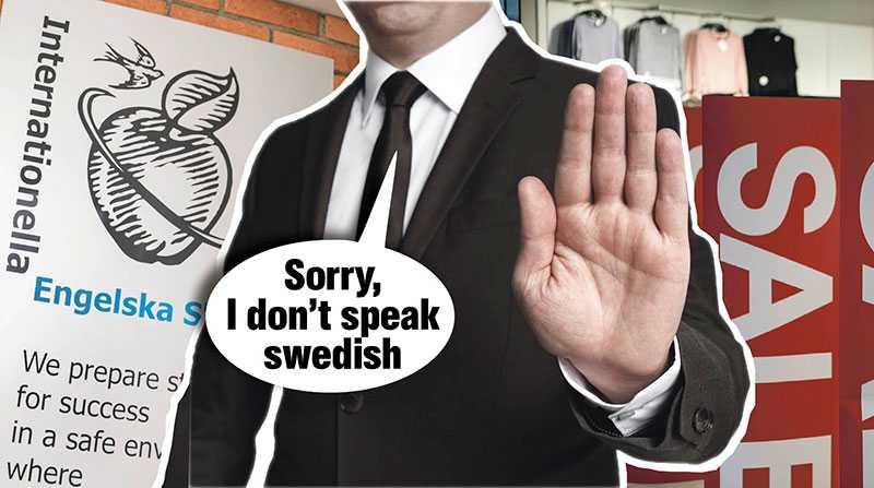 """Skolor """"hjälper"""" våra barn att byta språk och engelskspråkiga som flyttar hit bryr sig inte om att lära sig svenska. Och i butikerna översvämmas vi av budskap på engelska. Nu måste vi stå upp för det svenska språket, skriver debattörerna."""