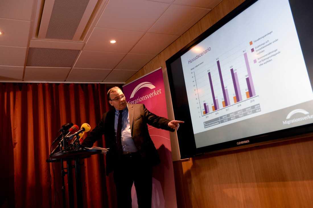 Ekonomidirektör Anders Lundbeck presenterar prognosen.