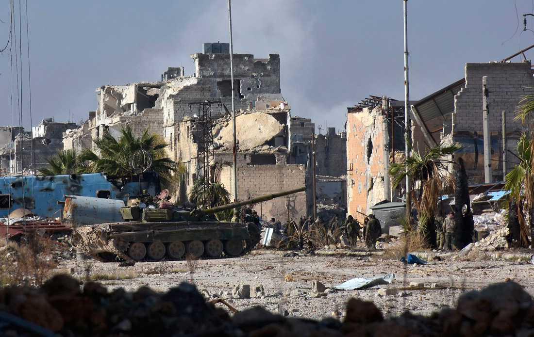 Syriska regeringsstyrkor i Aleppo.