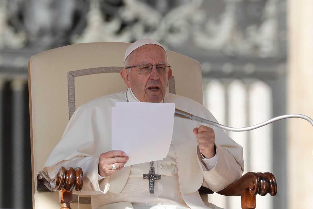 Den katolska kyrkans överhuvud påve Franciskus i Vatikanen. Arkivbild.