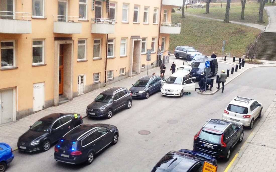 Läsarbild från gripandet på Kungsholmen.