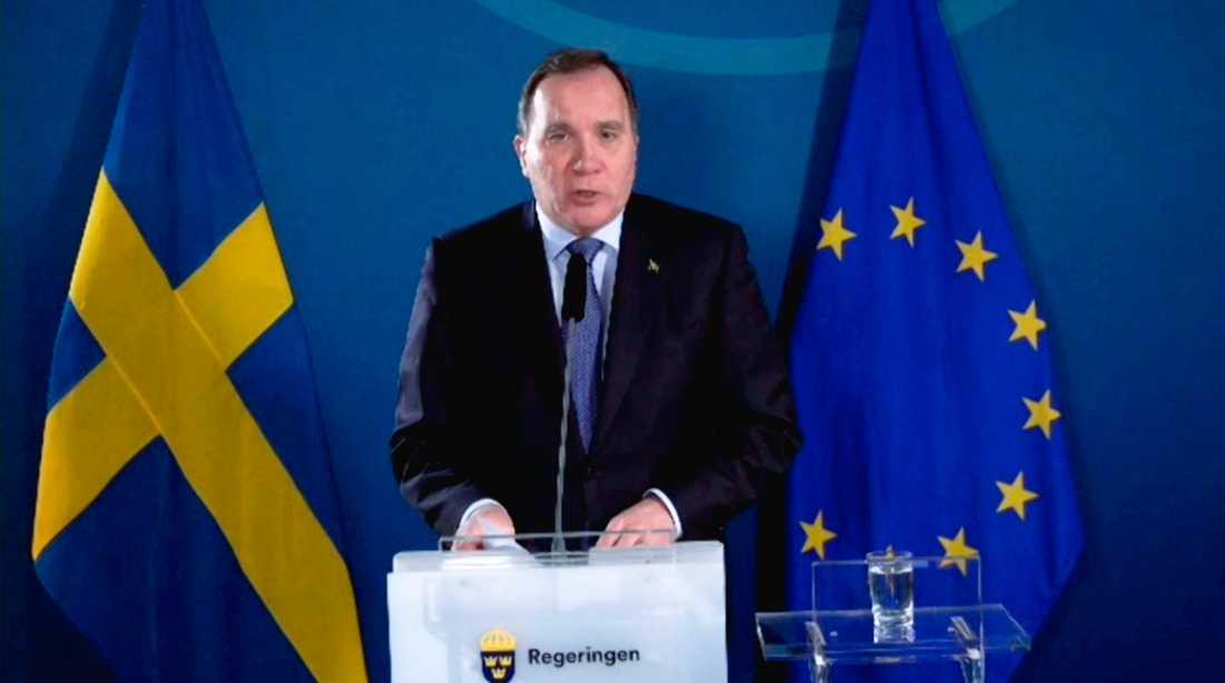 Stefan Löfven på måndagens pressträff.