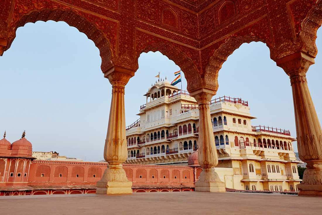 Stadspalatset ligger i Rajasthan i nordvästra Indien.