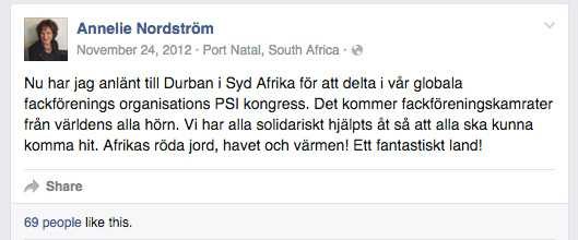 Först den 24 november skriver Annelie Nordström på sin Facebook om Sydafrikaresan.