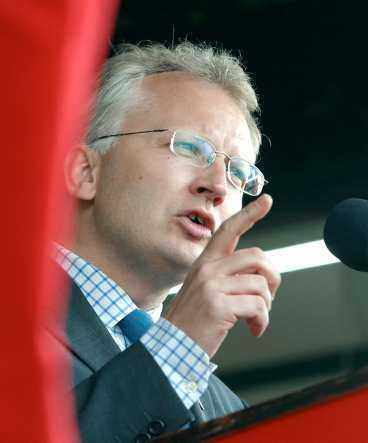 talaren Pär Nuder talar i Malmö på första maj.