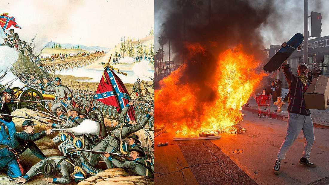 Yankees mot rebeller vid slaget vid Franklin 1864 och gatuprotester i Los Angeles  mot polisens våld 2020.