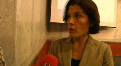 Försvarsminister Karin Enström intervjuas om Jas av Aftonbladets Nina Svanberg.
