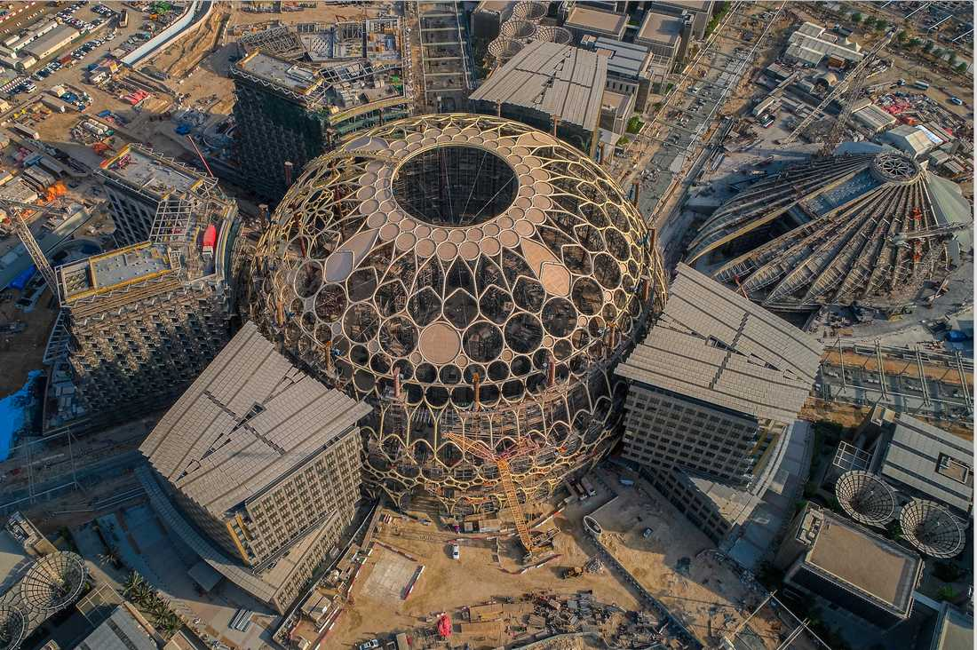 Expo 2020-området i Dubai är fortfarande en byggarbetsplats. Världsutställningen går av stapeln i oktober 2020 och fortsätter ända in i 2021.