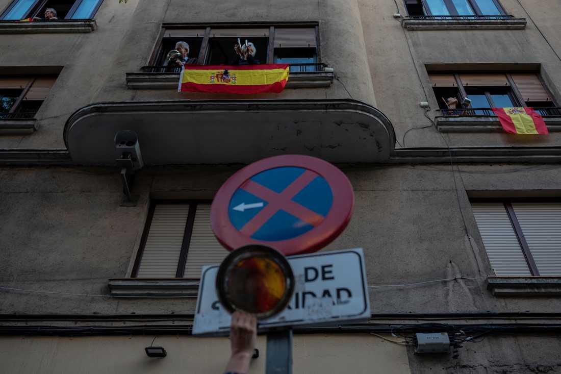 En protest mot Spaniens regering i Madrid under måndagen.
