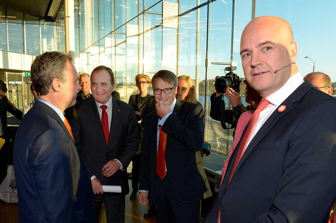 Jan björklund (FP), Stefan Löfven (S), Göran Hägglund (KD) och Fredrik Reinfeldt (M) inför Aftonbladets partiledardebatt.