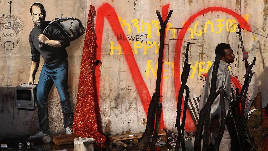 Ett Bansky-verk i franska Calais.