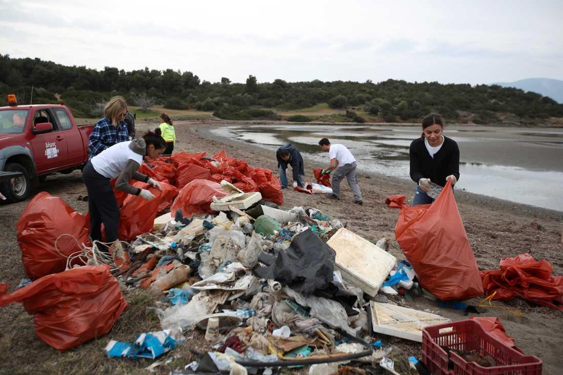 EU:s hårdare regler mot engångsplast är framför allt till för att minska mängden plast i havet och på stränder. På arkivfotot från februari samlar frivilliga in sopor på en strand på ön Evvia, nordost om Aten. Arkivbild.