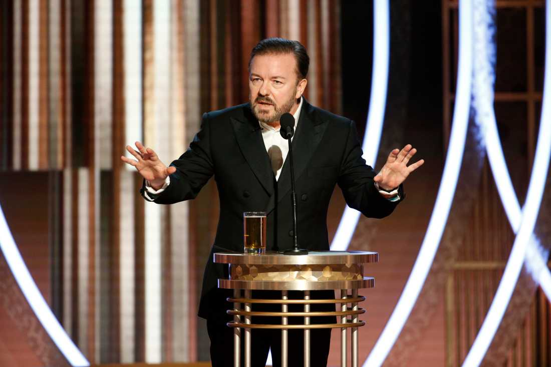 Ricky Gervais under sitt Golden Globe-tal.