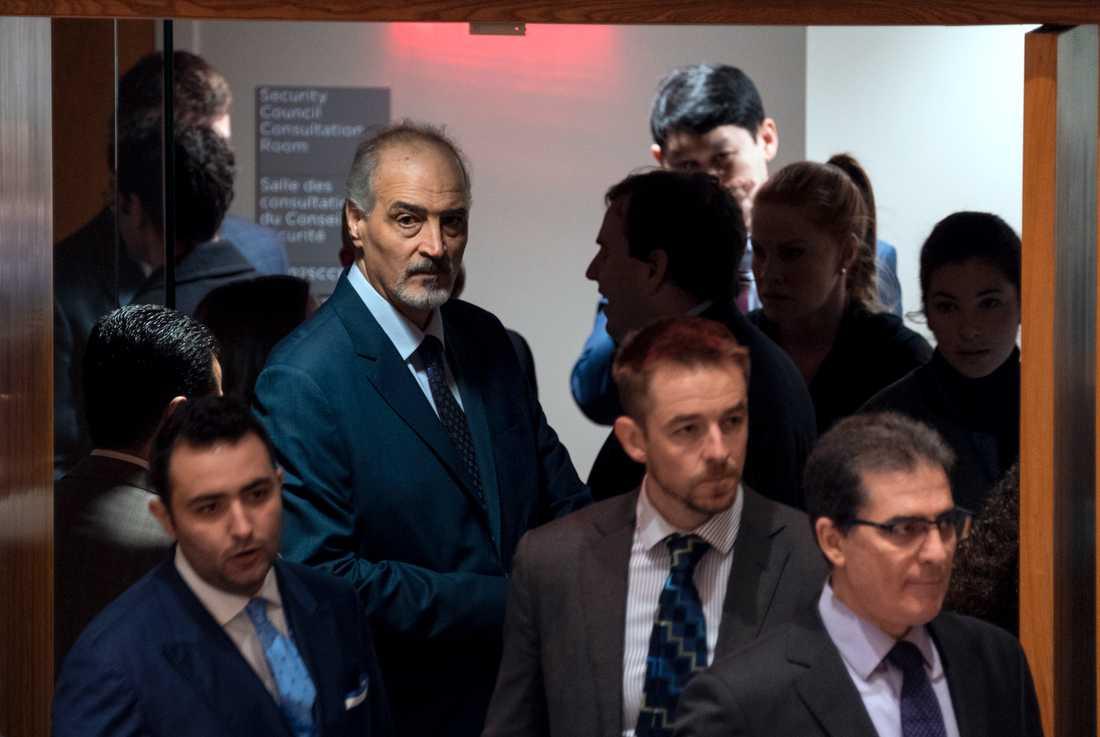 Syriens FN-ambassadör Bashar al-Ja'afari före omröstningen.