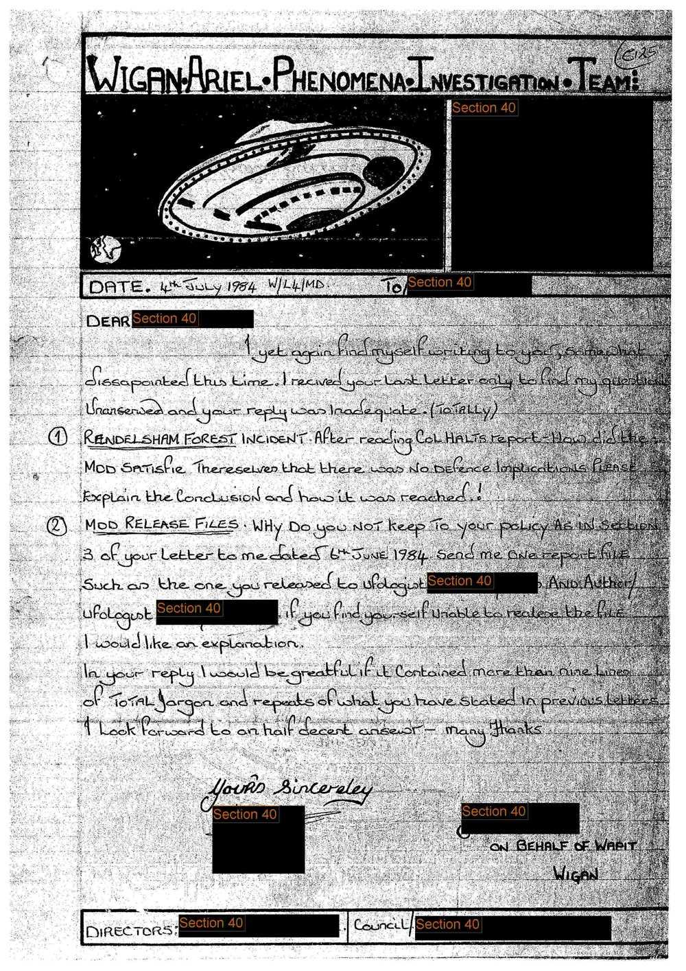 Här är dokument från brittiska National archive som blev offentligt i samband med att Ufo-avdelningen lades ner.