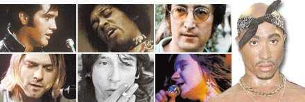 Elvis, Joplin, lennon, Hendrix, Cobain, Thunders och längst till höger, Tupac.