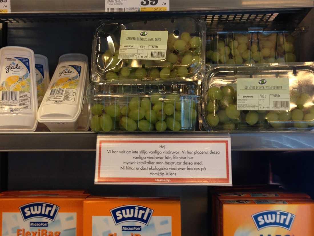 Vindruvorna delar nu hylla med rengöringsmedel på Hemköp i Täby.
