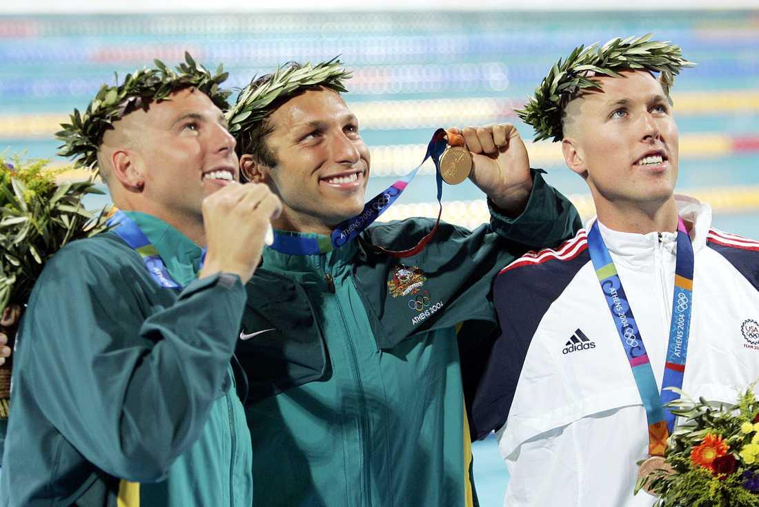 Klete Keller, till höger, tog OS-silver på 400 meter fritt i Aten 2004. Han har också två OS-guld.