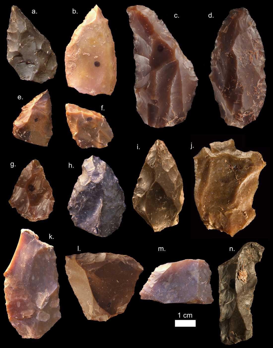 På fyndplatsen i Marocko har forskarna också hittat stenredskap. De liknar redskap av samma ålder från andra delar av Afrika.