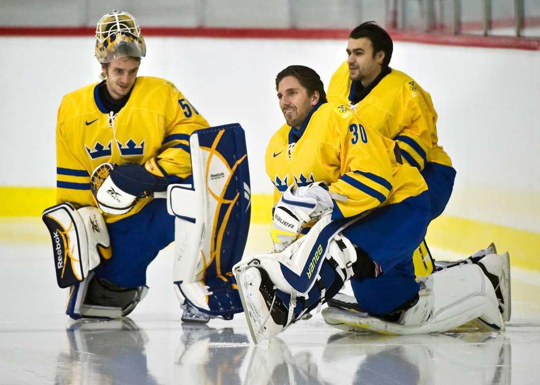 Jonas Gustavsson, Henrik Lundqvist och Stefan Liv tillsammans i Vancouver 2010.