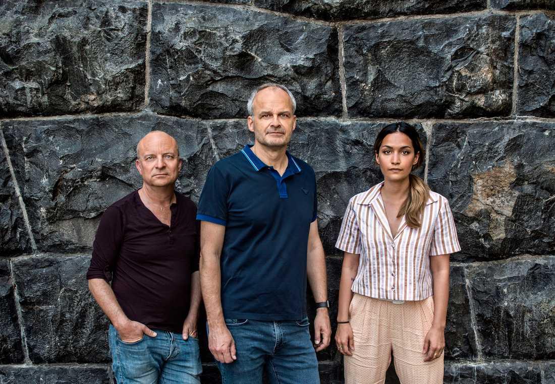 Jonas Gardell, Johan Rheborg och regissören Rojda Sekersöz.