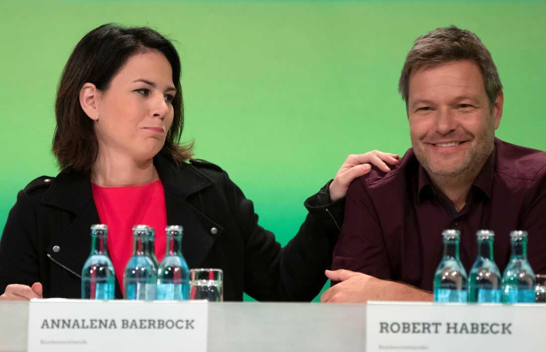 Annalena Baerbock och Robert Habeck, De grönas två partiledare. Partiet är det tyska EU-valets stora vinnare. Arkivbild.
