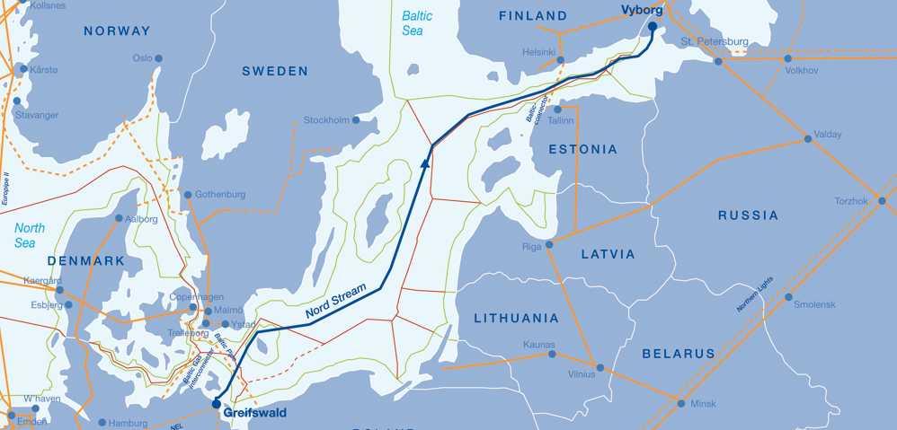 Konsortiet vill dra gasledningen från Vyborg till Greifswald i Tyskland., rakt genom den svenska ekonomiska zonen.