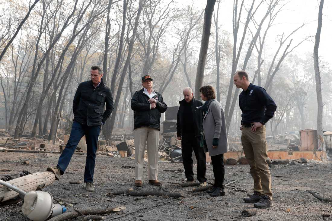President Donald Trump besöker brandhärjade områden. På bilden syns bland andra Kaliforniens guvernör Jerry Brown.