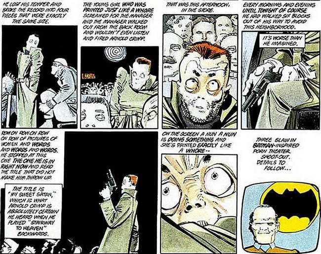 """KUSLIGT LIKA  Bilder ur serietidningen """"The dark knight returns""""."""