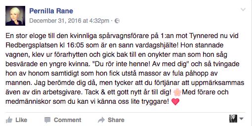 Pernillas Facebookinlägg om händelsen.
