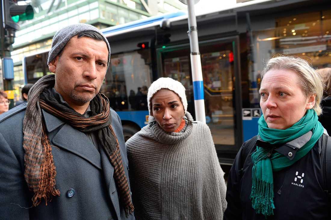 Alex Monsalves, Tess Asplund och Sandra Kurén blev misshandlade.