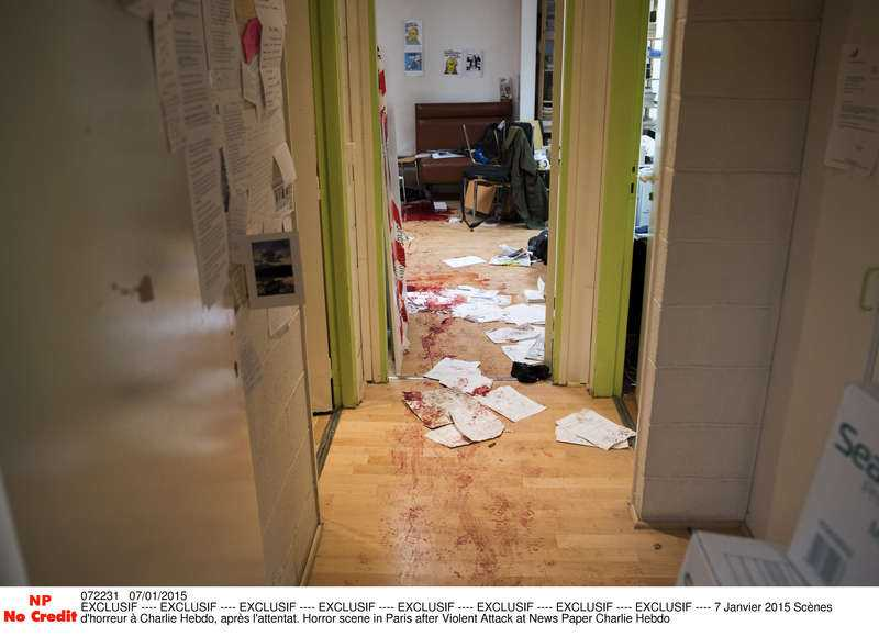 Charlie Hebdos redaktion efter massakern.