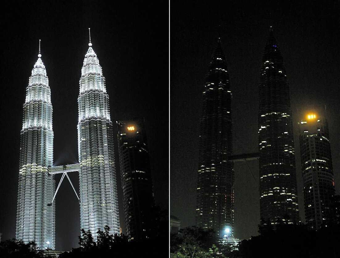 EARTH HOUR 3 000 städer i 85 länder deltog i gårdagens manifestation. Bland annat släcktes lamporna i tvillingtornen i Kuala Lumpur, Malaysia.
