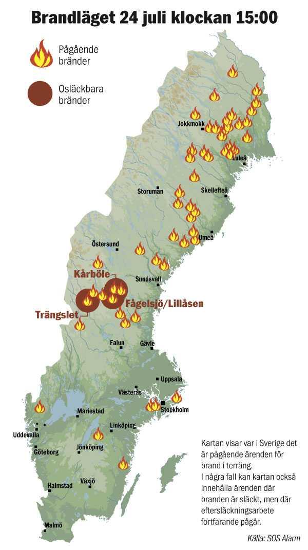 Alla bränder i Sverige i dag klockan 15.